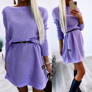 Oversizes belted knit dress (purple)