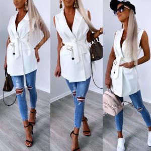 Belted button vest jacket (white)