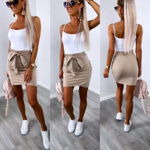 Soft cotton tie skirt (beige)