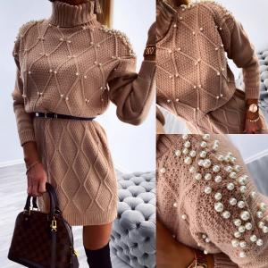 Pearl belted knitted dress (pink)