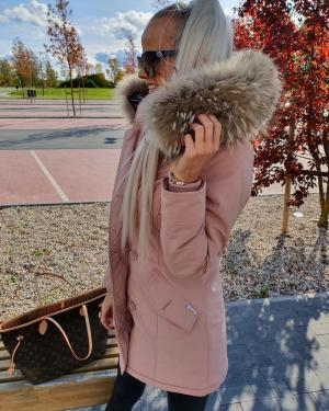 Pink Winter Parka With Real Fur And Waterproof Outer Layer