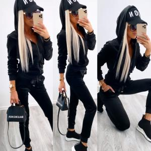 Velvet tracksuit set (black)