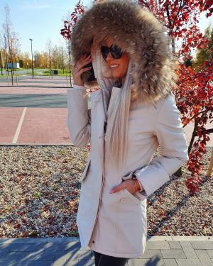 Winter parka with real fur and waterproof outer layer (beige)