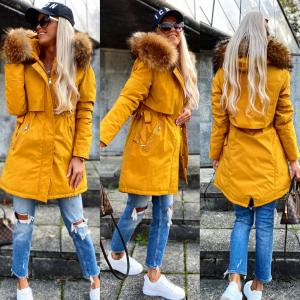 Winter parka with natural fur and adjustable waist (yellow)