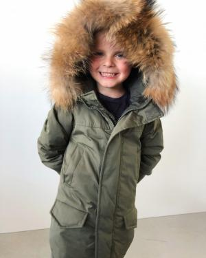Navy Blue Warm Winter Parka With Natural Fur