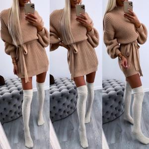 Tie knitted dress (taupe)