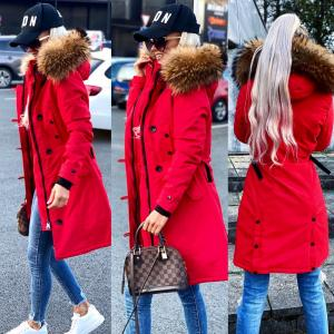 Winter parka with natural fur and waterproof outer layer (red)