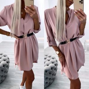 Light Pink Belted Shirt-dress