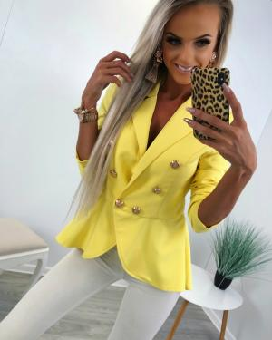 Fashionable peplum jacket (yellow)