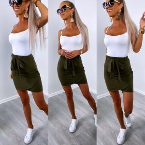 Soft cotton tie skirt (khaki)