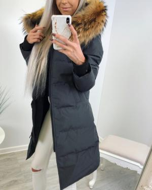 Long winter parka with natural fur and waterproof outer layer (grey)