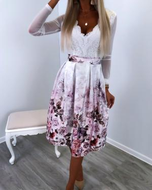 White Floral Pattern Midi Skirt
