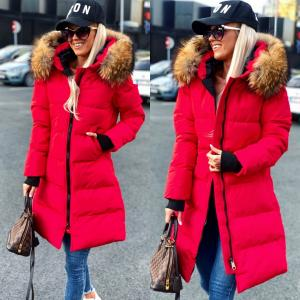 Long winter parka with natural fur and waterproof outer layer (red)
