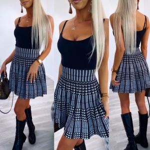 Grey Checkered Pleated Skirt
