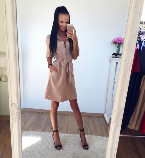 Beige Casual Dress With Pockets