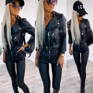 Tailored leather jacket (black)