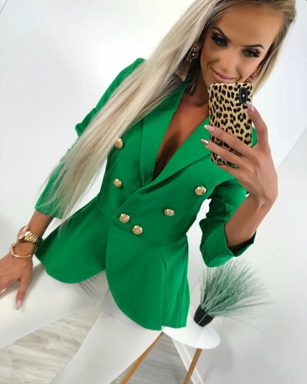 Green Fashionable Peplum Jacket