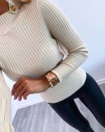 Gold button sweater (black)