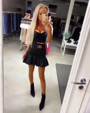Black Ruffle Belted Skirt
