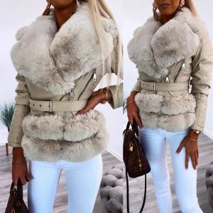 Faux fur collar belted jacket (beige)