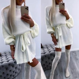 Tie knitted dress (balts)