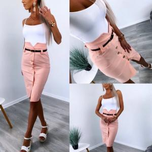Pink Gold Button Midi Skirt