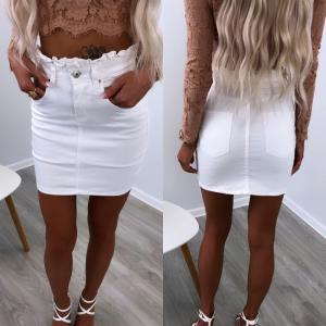 White Srtech Denim Skirt