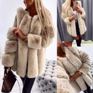 Luxury faux fur coat (bēša)