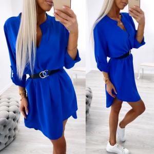 Blue Belted Shirt-dress
