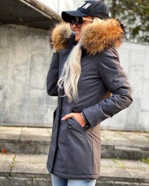 Winter parka with real fur and waterproof outer layer (dark gray)
