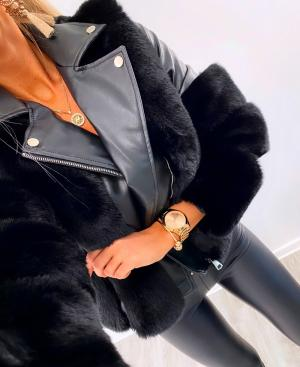 Short faux fur coat (melns)
