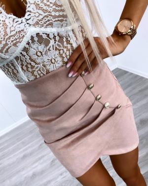 Pink Suede Button Skirt