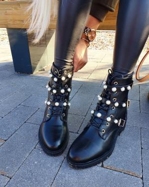 Black Pearl Strap Ankle Boot