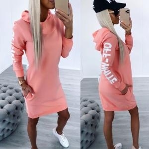 Coral Hooded Pullover Dress