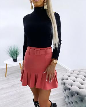 Ruffle belted skirt (pink)