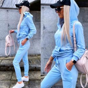 Light Blue Velvet Tracksuit Set