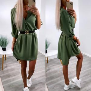 Khaki Belted Shirt-dress