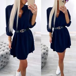 Navy Blue Belted Shirt-dress