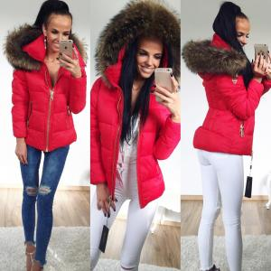 Warm jacket with large natrual fur (red)