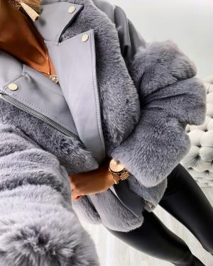 Short faux fur coat (pelēks)