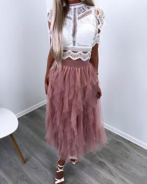Pink Lace Tulle Skirt