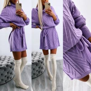 High neck tie knitted dress (violets)