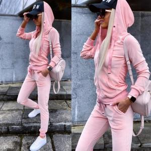 Light Pink Velvet Tracksuit Set