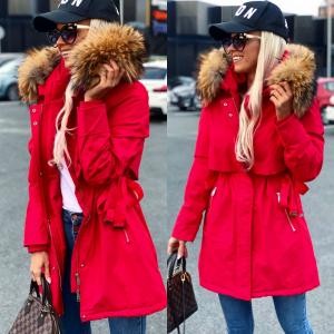 Winter parka with natural fur and adjustable waist (red)