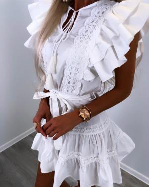 White Ruffle Tie Dress